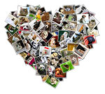 Heart shaped digital photo collage