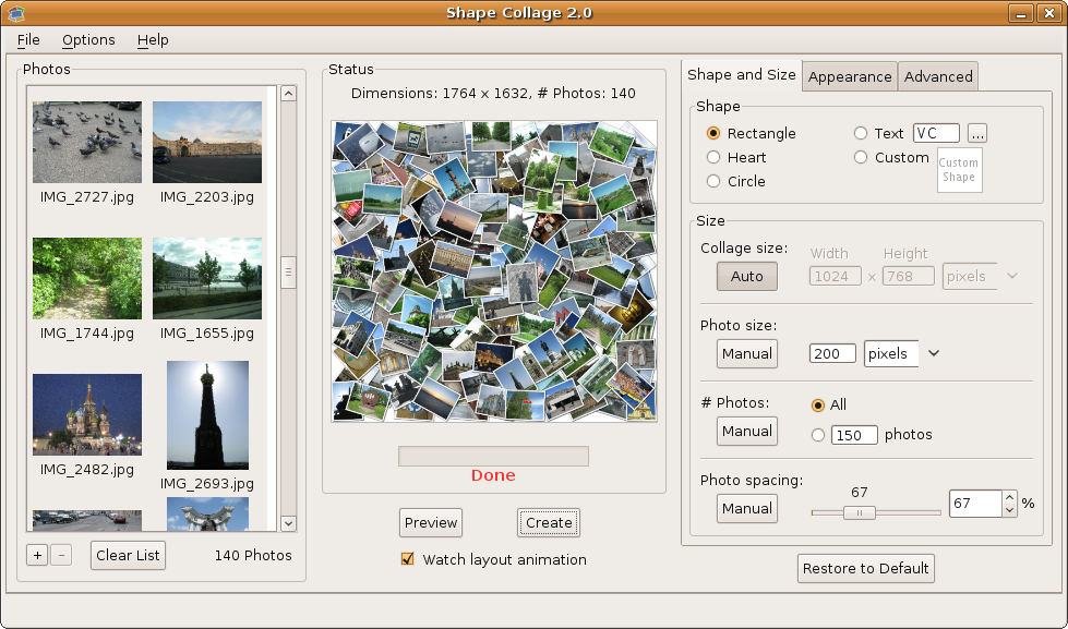 Shape Collage - Linux Software Download
