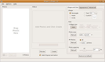 Shape Collage screenshot in Linux Ubuntu