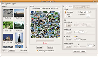 A photo collage created by Shape Collage in Linux Ubuntu
