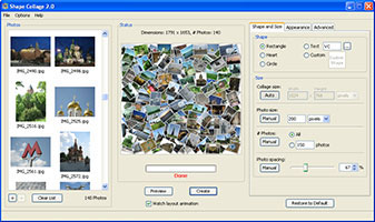 A picture collage created by Shape Collage in Windows XP